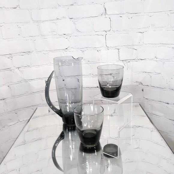 VINTAGE 1960's MCM Mod Gray Glass Cocktail Set